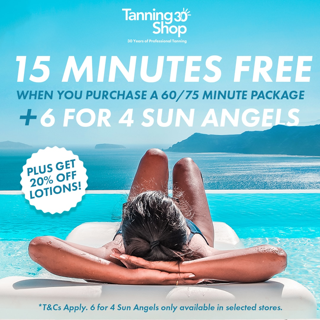 15 minutes FREE on 60/75 minute packages & 6 for 4 Sun Angel Tanning Sessions