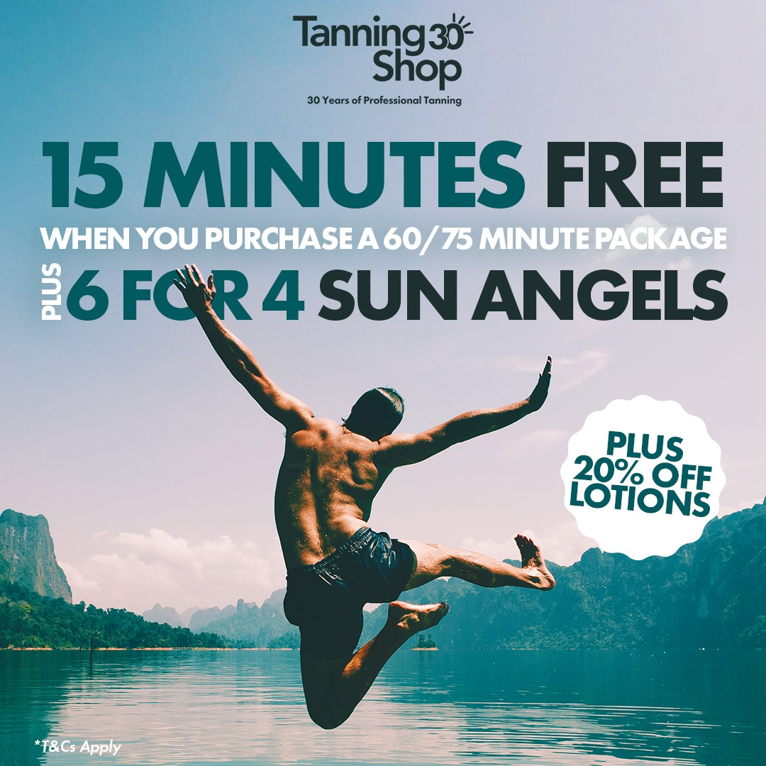 15 MINUTES FREE when you purchase any 60/75 min package. 6 for 4 Sun Angels 20% OFF bottled lotions